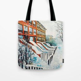 Brooklyn New York In Snow Storm Tote Bag