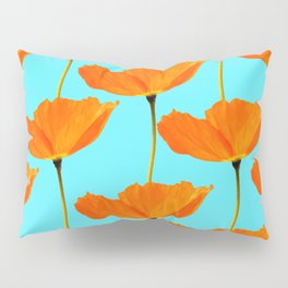 Poppies On A Turquoise Background #decor #society6 #buyart Pillow Sham