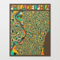 philadelphia Canvas Prints featuring PHILADELPHIA by Jazzberry Blue