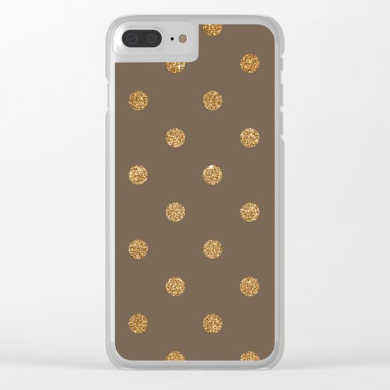 Umber Gold Glitter Dot Pattern Clear iPhone Case