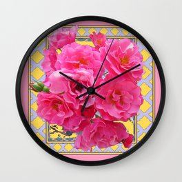 AWESOME PINK ROSES YELLOW-GREY LATTICE  DESIGN Wall Clock