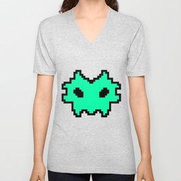 Pixel Invaders : Light Blue Unisex V-Neck