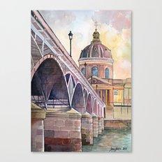 Paris, Pont des arts and institute de France - watercolor painting  Canvas Print