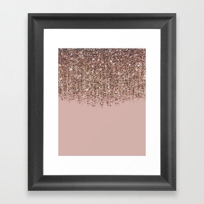 Blush Pink Rose Gold Bronze Cascading Glitter Gerahmter Kunstdruck