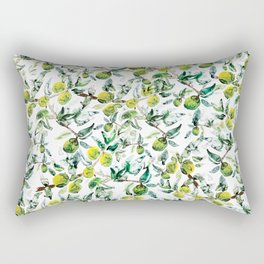 Lime Tree Branch Pattern Watercolor Rectangular Pillow