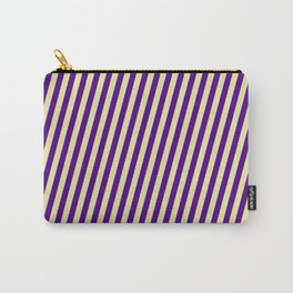 Indigo & Pale Goldenrod Colored Lines/Stripes Pattern Carry-All Pouch
