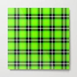 UFO GREEN Chartreuse (#7fff00) color themed SCOTTISH TARTAN Checkered Fabric Pattern texture Metal Print