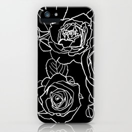 Feminine and Romantic Rose Pattern Line Work Illustration on Black iPhone Case