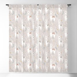 Sweet Llama on Gray Blackout Curtain