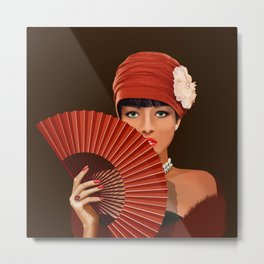 The beautiful lady with green eyes Metal Print