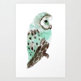 Watercolour Owl Art Print