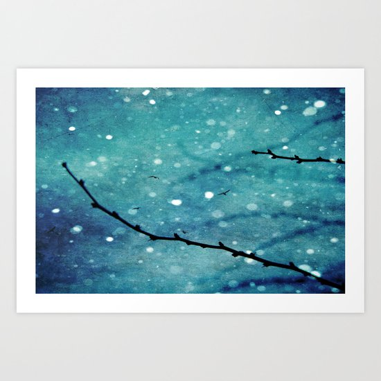 Winter Snow Branches  Art Print