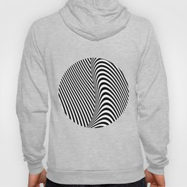 Black and White Pop Art Optical Illusion Lines Hoody