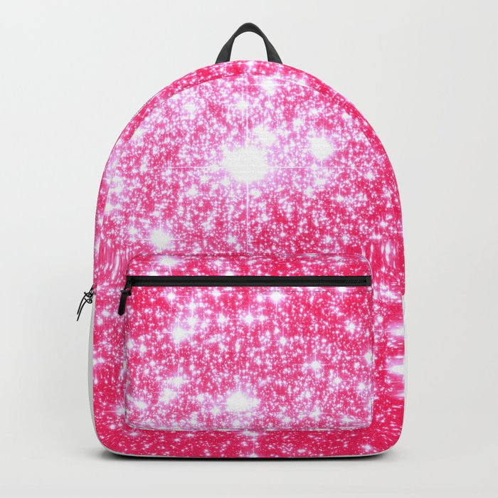 Hot Pink Galaxy Stars Sparkle Backpack by