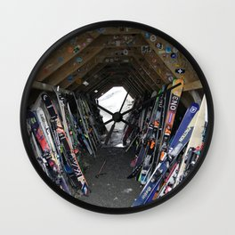 Hideout gathering of skis Wall Clock