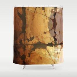 Abstract Art- Brown Art- Sacred Geometry Art- Catana- Pattern Art- Yellow- Beige Shower Curtain