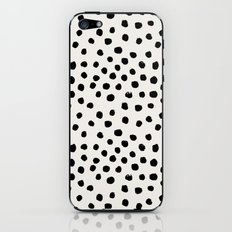 Preppy brushstroke free polka dots black and white spots dots dalmation animal spots design minimal iPhone & iPod Skin