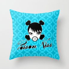 POISON KISS CYAN Throw Pillow