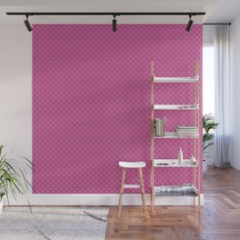 Fish Scales in hot pink and navy Wall Mural
