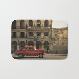 Vintage red american car, on the streets of La Havana, Cuba Bath Mat