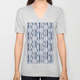 Shibori Stripes 2 Indigo Blue Unisex V-Neck
