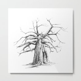 Minimalistic, black-and-white ink drawing of a baobab tree --  Metal Print