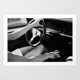 girl driving small car Art Print