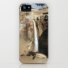 Mountain river, view of cascade waterfall on canyon iPhone Case
