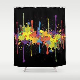 Crazy Multicolored Double Running Splashes 2 Shower Curtain