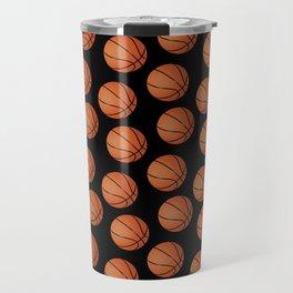 Basketball Pattern-Black Travel Mug