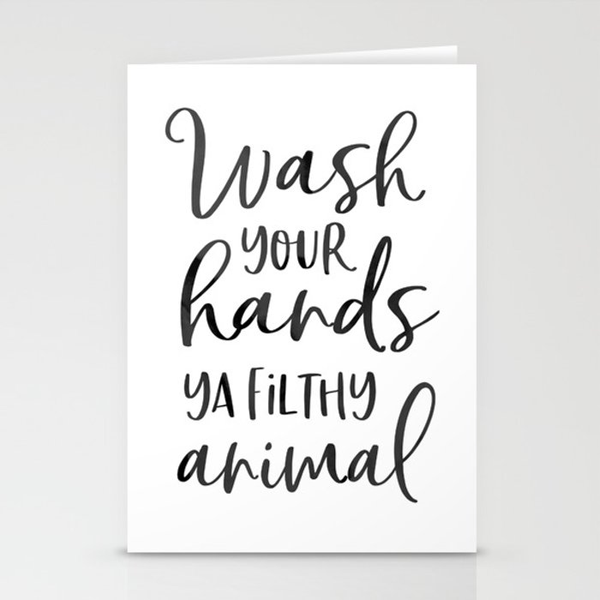 BATHROOM WALL DECOR, Wash Your Hands Ya Filthy Animal,Funny Print,Bathroom Sign,Shower Decor Stationery Cards