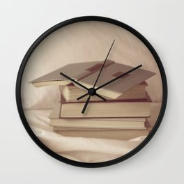 books in bed Wall Clock