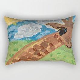 Wide Eyed Giraffe Original Painting Rectangular Pillow