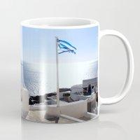 greece Mugs featuring Greece by Shine Like Sunbeams