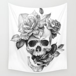 Black and white Skull and Roses Wall Tapestry