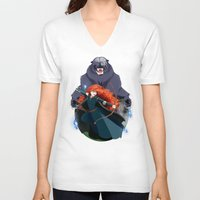merida V-neck T-shirts featuring Merida by Karrashi