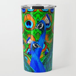 BLUE PEACOCKS PATTERN DESIGN Travel Mug