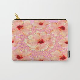 Pale Pink-Yellow Ruffled Peach Hibiscus Floral Asian Pattern Carry-All Pouch