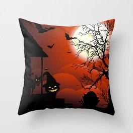Halloween on Bloody Moonlight Nightmare Throw Pillow