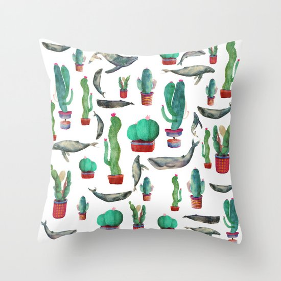 Cactus & whales Pattern Throw Pillow