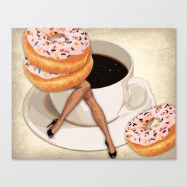 Miss Sprinkles Takes a Coffee Break   Vintage Inspired Collage Canvas Print