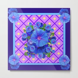 Blue & Purple Morning Glories Pattern Art Metal Print