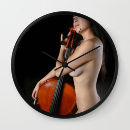 0205-JC Nude Cellist with Her Cello and Bow Naked Young Woman Musician Art Sexy Erotic Sweet Sensual Wall Clock
