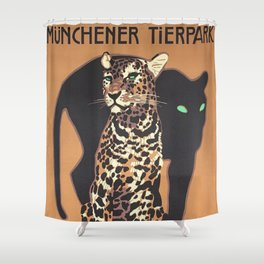 1912 Munich Zoo Green-Eyed Leopold Vintage Advertising Poster Shower Curtain