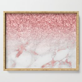 Rose-gold faux glitter and marble ombre Serving Tray