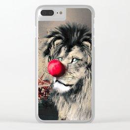 Circus Lion Clown Clear iPhone Case