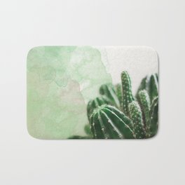 Cacti Green Watercolor Bath Mat