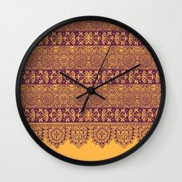 crochet lace border in warm mood Wall Clock
