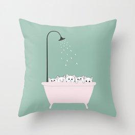 5 Little White Kittens in Bathtub Throw Pillow
