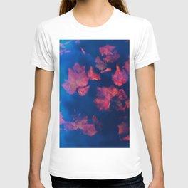 Rusty red falling leaves in dark blue water T-shirt